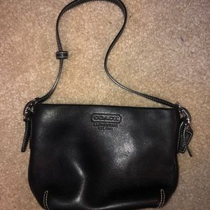 Black Leather Coach Shoulder Bag